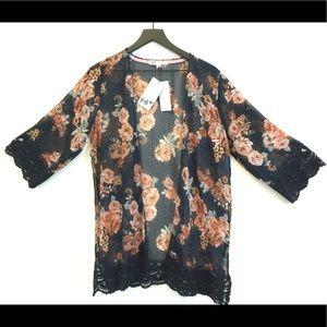 NWT JOLT  Brand Sheer Kimono with lace trim